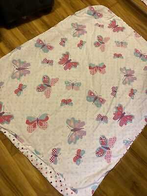 £5.99 • Buy Baby Girl Cot Bed Butterflies And Dot Duvet Cover