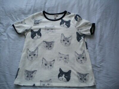£4 • Buy Asos White Top With Cat Face Pattern Size 12