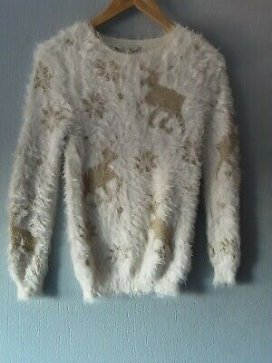 £3 • Buy Ladies Christmas Cream Mohair  Jumper Size 8 From Peacocks