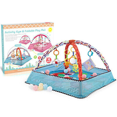 £69.72 • Buy Blue Baby Gym Activity Play Mat & Hanging Toys Infant Playmat For Tummy Time TTY