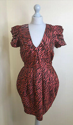 £14.99 • Buy TOPSHOP BOUTIQUE 12 Red Shiny Zebra Animal Puffball Dress 80's ASO Anna Friel