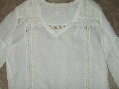 $ CDN11.85 • Buy Anthropologie Tunic Top Size Large White/Cream Color Loose Fit Eyelet Peasant
