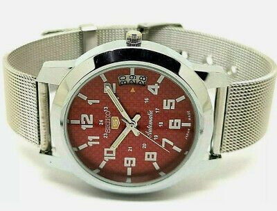 $ CDN34.45 • Buy Seiko 5 Automatic Red Color Dial Stainless Steel Watch Working Condition