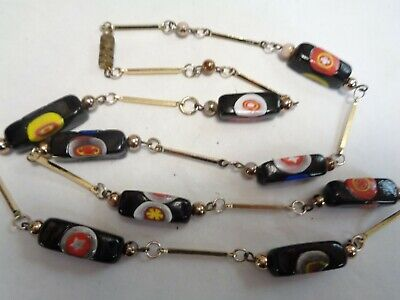 $9.99 • Buy Vintage Rectangle Murano MILLEFIORI GLASS Beaded Gold Tone Bar Link  Necklace