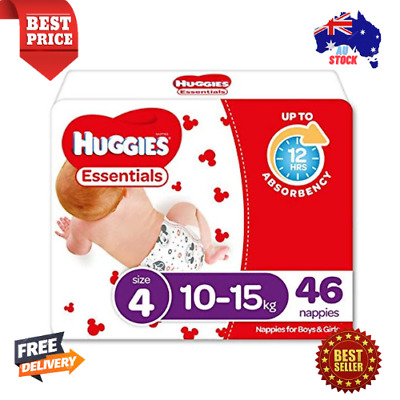 AU55.69 • Buy Huggies Essentials Nappies Size 4 (10-15kg) 46 Count - Pack 2