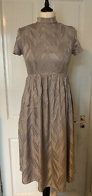 £14.99 • Buy Topshop Boutique Backless Silk Dress Short Sleeved UK10 Party Wedding Taupe Grey