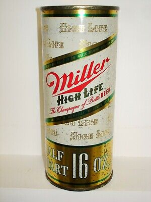 $8 • Buy MILLER  LADY ON THE MOON  (MILLER LARGE LOGO) FLAT TOP 16oz S/S BEER CAN T266