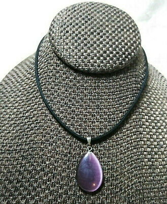 $14 • Buy Purple Cats Eye Necklace Natural Stone Handcrafted 20 Inch Cord Women Men Teens