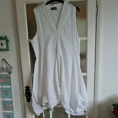 £6.95 • Buy White Linen Lagenlook Dress  Freesize (up To 44ins Chest)