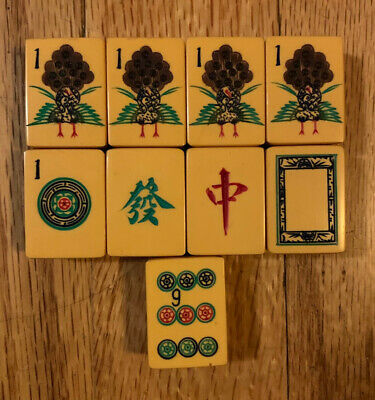 $450 • Buy Vintage Chinese Bakelite 152 Mahjong Set With Front Facing Peacock-bright Tiles