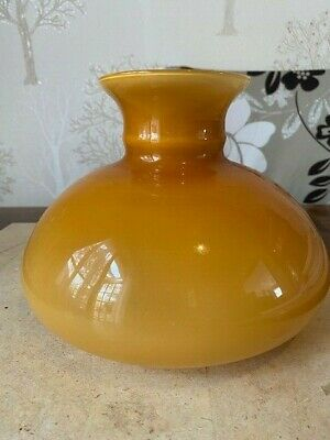 £20 • Buy Vintage  Yellow Amber Cased Glass Dome Aladdin Oil Lamp Shade Width 22cm