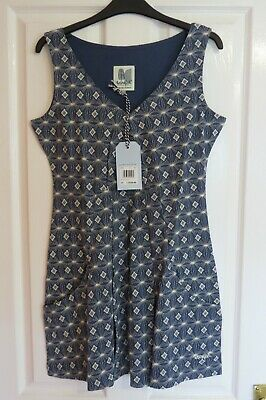 £9.99 • Buy Weird Fish Womens Nala Cotton Printed Jersey Tunic Size 12 Blue And White
