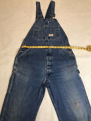 $30 • Buy Vintage Roundhouse Carpenter Bib Overalls No Size Tag…Measures 36X30 Distressed.