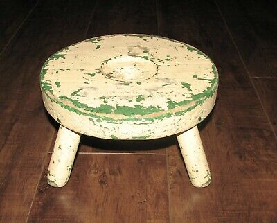 $19.99 • Buy Early Painted Primitive Wooden 4 Leg Milking Stool Green Cream Patina