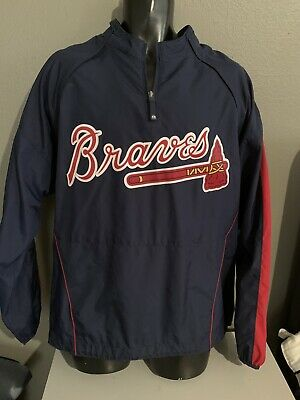 $29.99 • Buy Majestic Atlanta Braves Authentic Collection Mens Jacket Zipper Sleeves Size L