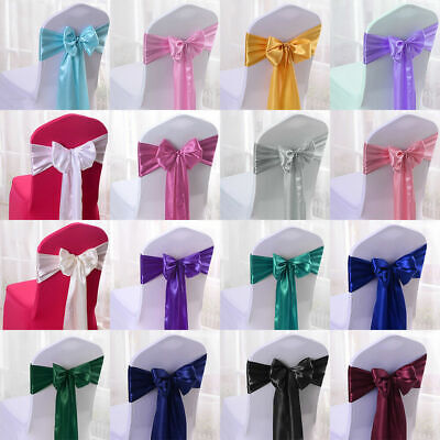 £19.99 • Buy 25 50 100 Satin Sash Chair Cover Bow Wider Sashes Wedding Party Decor 18x275cm