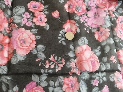 £5 • Buy Vintage Pink & Black Floral Nylon Fabric + Lining Dress, Nightie, Overall Aprons
