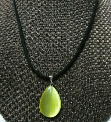 $14 • Buy Yellow Cats Eye Necklace Natural Stone Handcrafted Women Men Teens Gift Ideal