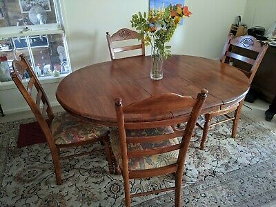 AU100 • Buy Beautiful Hardwood Extendable Dining Setting With Four Upholstered Chairs
