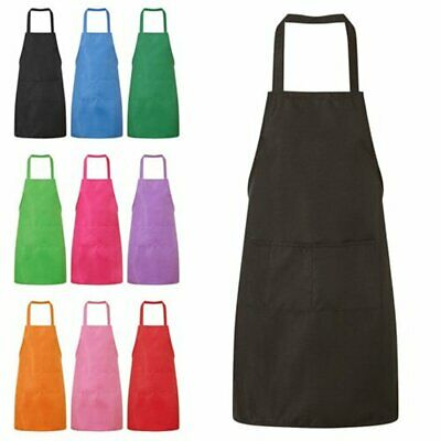 £0.99 • Buy New Plain Apron With Front Pocket Kitchen Cooking Craft Baking Chefs Butchers