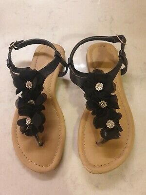 £0.99 • Buy Girls Sandals Black Flowers And Sparkly Gems UK Size 1