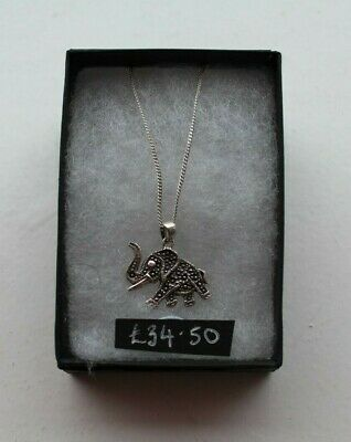 £16 • Buy Sterling Silver Elephant With Detailing Pendant On Sliver Chain With Clasp