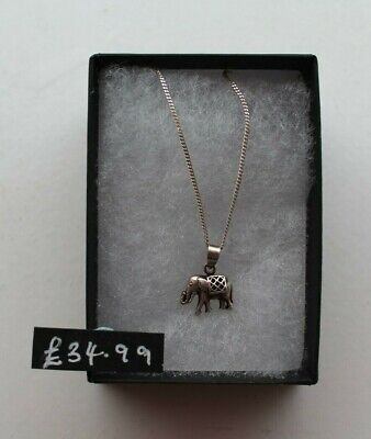 £16 • Buy Sterling Silver Small Elephant Pendant On Sliver Chain With Clasp