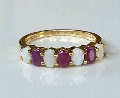 £22.50 • Buy Vintage Sterling Silver Genuine Opal And Ruby Ring 9ct Gold Plated