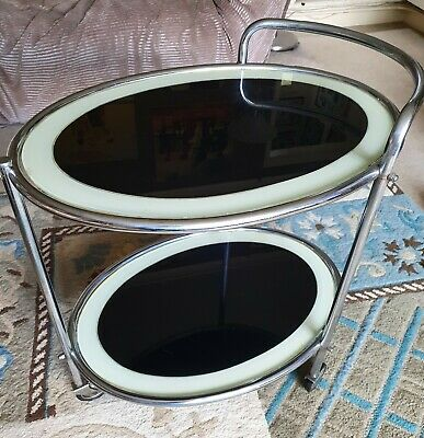 £275 • Buy ART DECO Two Tier 3 Wheeled Cocktail / Tea Trolley Original Chrome And Glass