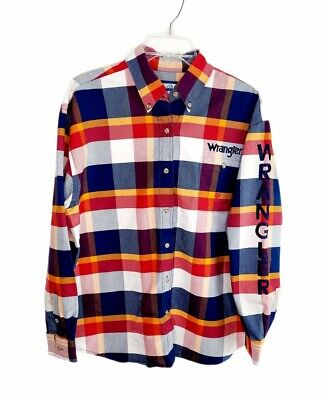 $32.95 • Buy Wrangler 20X Mens Embroidered Logo Western Rodeo Shirt Sz Large Button Up Plaid