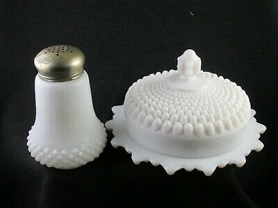 $9.99 • Buy Eapg 1890s Opaque White Milk Glass Sugar Shaker And Later Hobnail Butter Dish