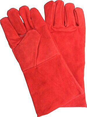 £5.45 • Buy Red Superior Mig Welding Gauntlets Protective Gloves Heat Resistant Leather