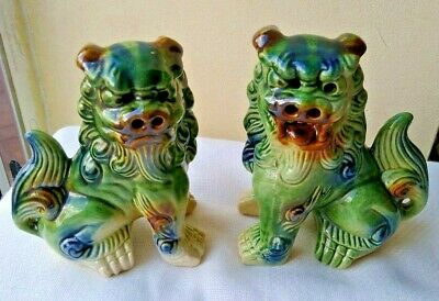 £22 • Buy 2 LARGE Chinese Ceramic Fu Foo Green Dogs 5.5  Tall X 4.5  Wide