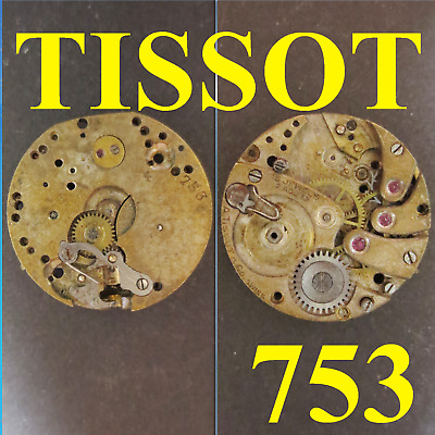 $ CDN22.28 • Buy Movimento Tissot Cal 753 4 Movement Manual Old Watch X Parts Not Working Vintage