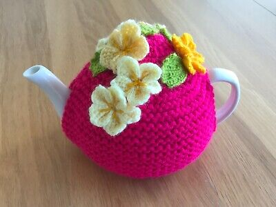 £10.50 • Buy Handmade Knitted Tea Cosy With Crocheted Yellow Flowers And Green Leaves. Pink
