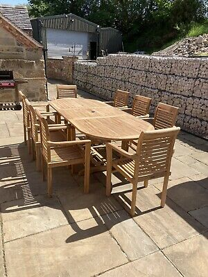 £1250 • Buy Teak Garden Furniture 8 Seater Double Extending Table And Chair Set With Cushion