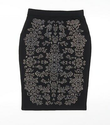 £7 • Buy River Island Womens Black Floral  Straight & Pencil Skirt Size 14