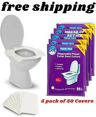 £9.17 • Buy GoHygiene Flushable Paper Toilet Seat Covers, 5 Travel Packs 50 Covers, Each 10