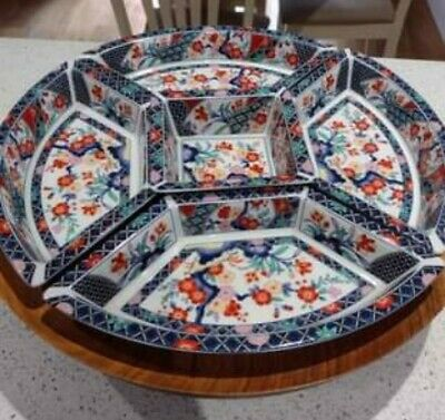 £15 • Buy Lazy Susan Turntable With Ornate Ceramic Dishes, Wooden Turntable, Ornate Dishes