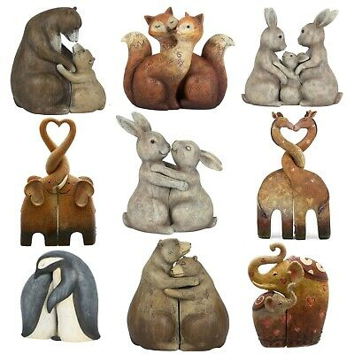 £12.99 • Buy Animal Love Couple Cuddling Pair Figurine Ornament Home Décor Gift 9 Variations