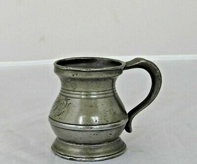 £20 • Buy Lovely Half-Gill Pewter Bellied Measure With Engraved Initials, London, C1860.