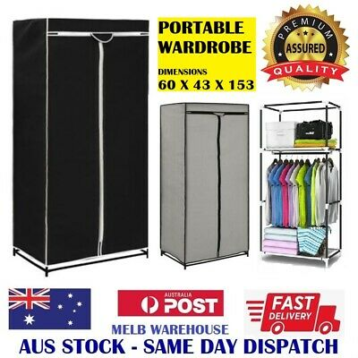 AU24.95 • Buy New Portable Storage Wardrobe - Dust Proof Fabric Zip Up Cloths Hanging Cabinet