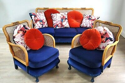 £1750 • Buy Bergere Suite- Reupholstered- Sofa & 2 Chairs- Designers Guild- Mid Century