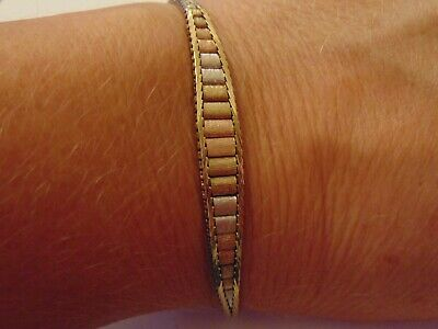 £275 • Buy  Vintage Solid 9ct Rose Yellow & White Gold Tri-Coloured Bracelet Hallmarked