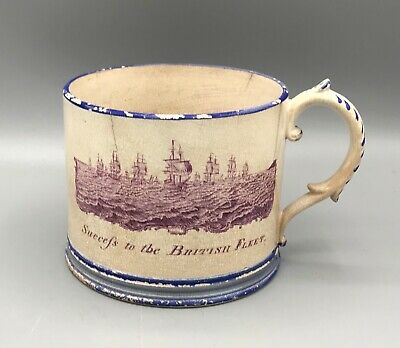 £135 • Buy Large Pearlware Transfer Printed  Tankard.'Success To The British Fleet' 1815 AF