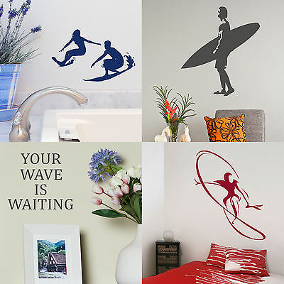 £2.99 • Buy Surfing Wall Stickers! Surfer Home Vinyl Transfer Graphic Surf Board Decal Decor