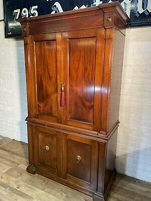 £495 • Buy Vintage Solid Mahogany Linen Press Cabinet . Delivery Available To Most Areas