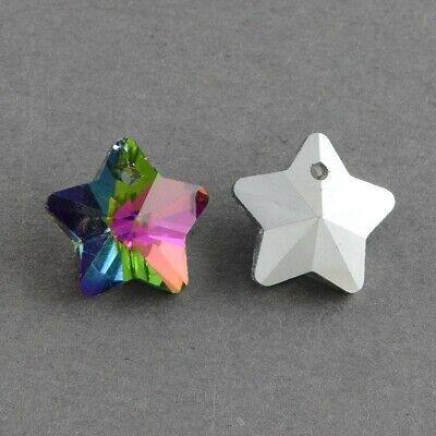 £1.80 • Buy  Glass Faceted Star Pendant Charms Rainbow Silver Plated Back Pack Of 10