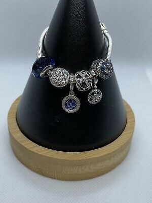 AU299 • Buy Pandora S925 Sterling Silver Bracelet Drawstring With 6 Charms And Dangles
