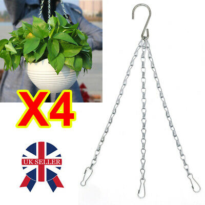 £5.78 • Buy 4 X Garden Hanging Basket Chains Replacement Easy Fit Spare Metal Hanger Hook J